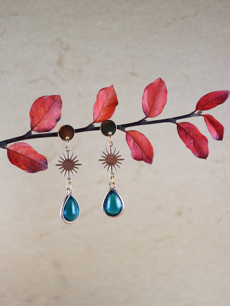 Nouveau teal blue drop earrings (Limited edition)