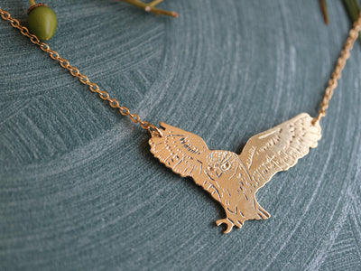 Flying owl hand sawed & engraved brass necklace