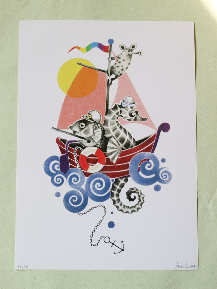 Sailboat signed and limited art print by Amanda Chanfreau