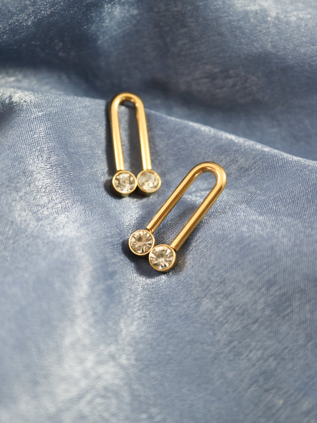Glimmering arch stud earrings