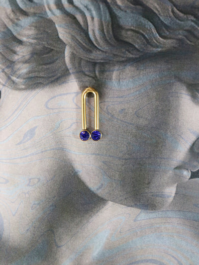 Glimmering arch indigo blue stud earrings