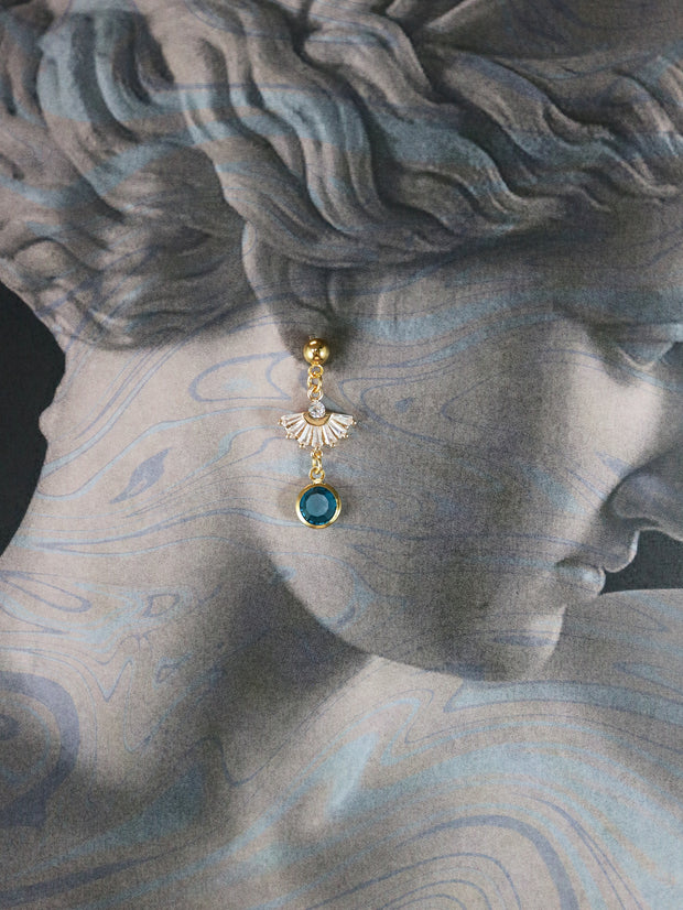 Glimmering fan and teal earrings (Limited edition)