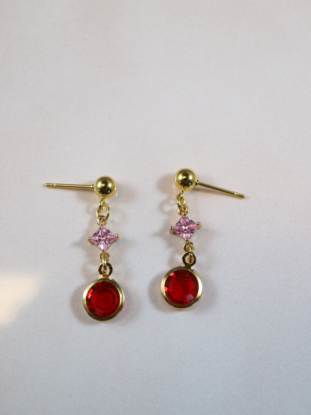 Glimmering pink and red earrings (Limited edition)