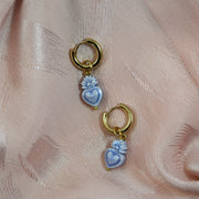 Chunky baby blue burning heart earrings (Limited edition)