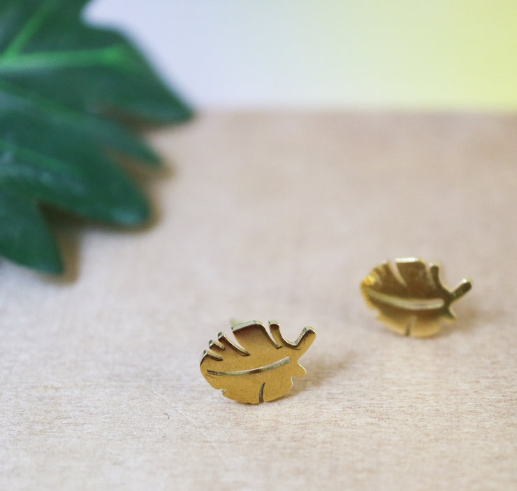 Golden leaf stainless stud earrings