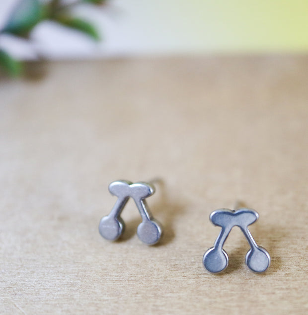 Silver cherry stainless stud earrings