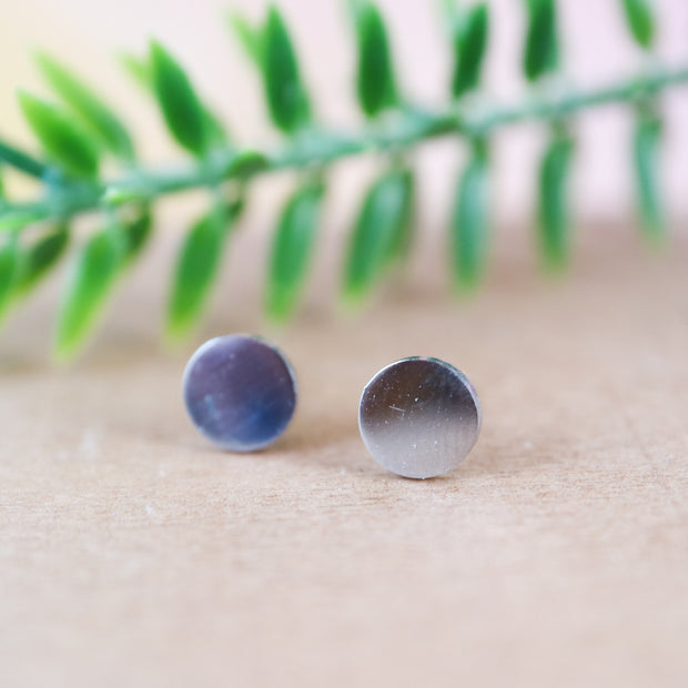 Silver dot stainless stud earrings