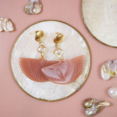 Muted pink fan earrings (Limited edition)