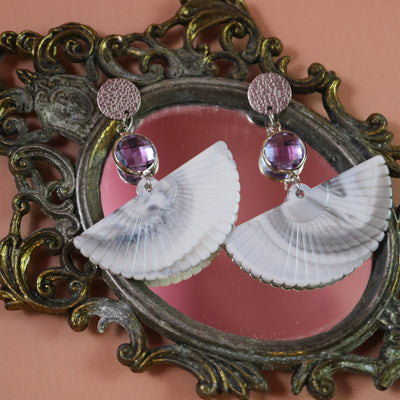 Marble & pink fan earrings (Limited edition)