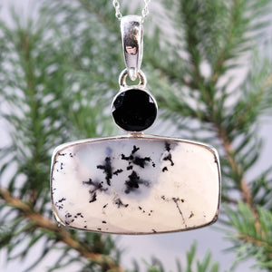 Dendritic Agate and Smokey Quartz Pendant