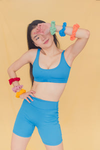 Electric Blue Villager Top + Yogi Bicycle Shorts Set