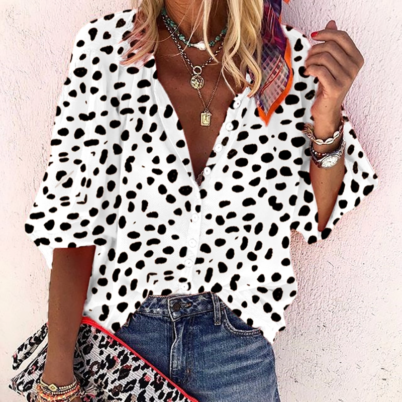 Fashion Leopard Print Women Blouses Casual V Neck Short Sleeve Blouses