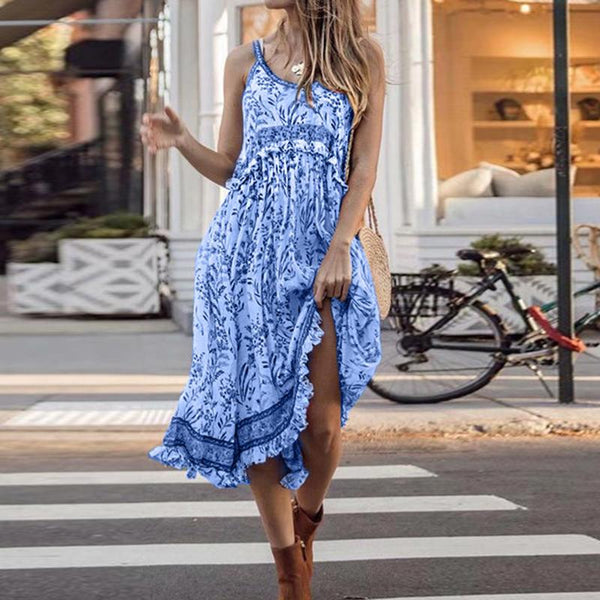 Casual Round Neck Floral Pattern Sleeveless Vacation Maxi Dress