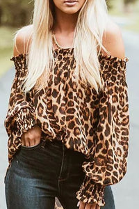 Fashion Off-Shoulder   Leopard Grain Printed  Long Sleeve Top