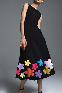 Boat Neck Floral Print Plain Sleeveless Maxi Dress