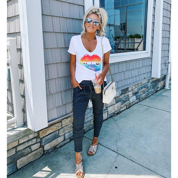 Casual Rainbow Lip Print T-shirts
