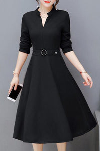Women's V Neck 3/4 Sleeves Fashion Plain Skater Dress