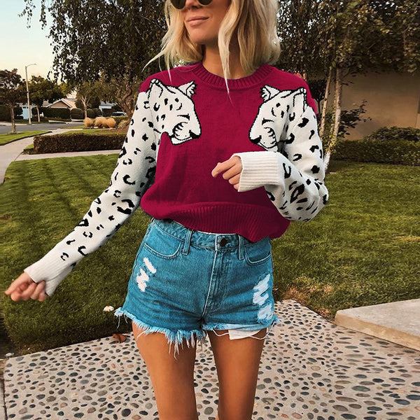 Women Arm to Chest Leopard Pattern Knit Long Sleeve Sweaters