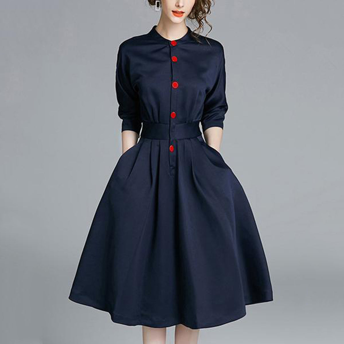 High Quality Women's Band Neck Buckle Pocket Plain 3/4 Sleeves Midi Skater Dress