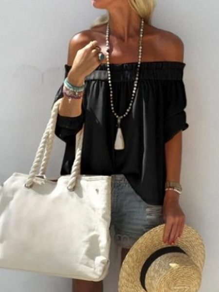 Half Sleeve Plain Off Shoulder Shirts