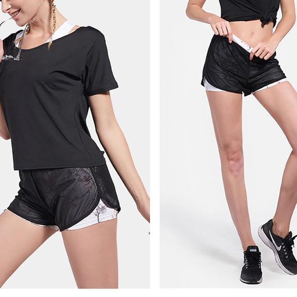 Fast Dry Double Layer Light Proof Breathable Gauze Print Shorts