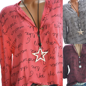 Autumn Spring  Polyester  Women  V-Neck  Decorative Button  Letters  Long Sleeve Blouses