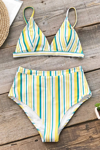Women's High Waist Stripe Bikini Set