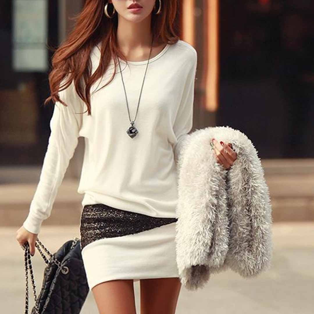 Sexy Round Neck Batwing Mini Bodycon Dress