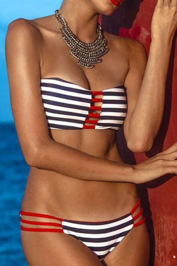 Collarless  Striped Bikini
