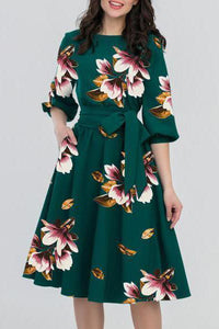 Women's Boat Neck Belt Floral Printed Skater Dress