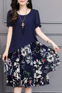 Women's Round Neck Short Sleeves Floral Printed Chiffon Two Piece Skater Dress