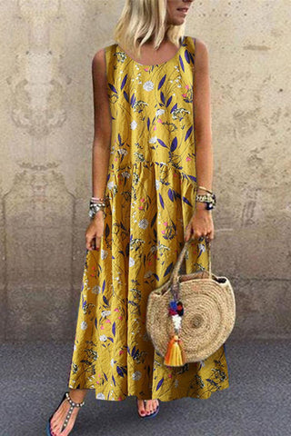 Fashion Floral Stitching Round Neck Sleeveless Loose Casual Maxi Dresses