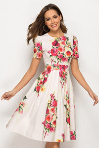 Round Neck Floral Printed Fashion Skater Dresses