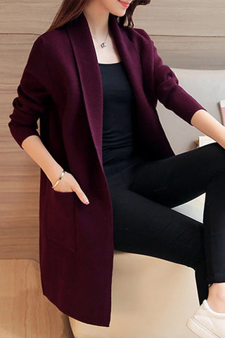 Lapel Elegant Plain Long Sleeve Knit Cardigan