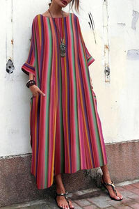 Myladystyle Womens' Casual Multicolor Striped Bell Sleeve Bohemian Maxi Dresses