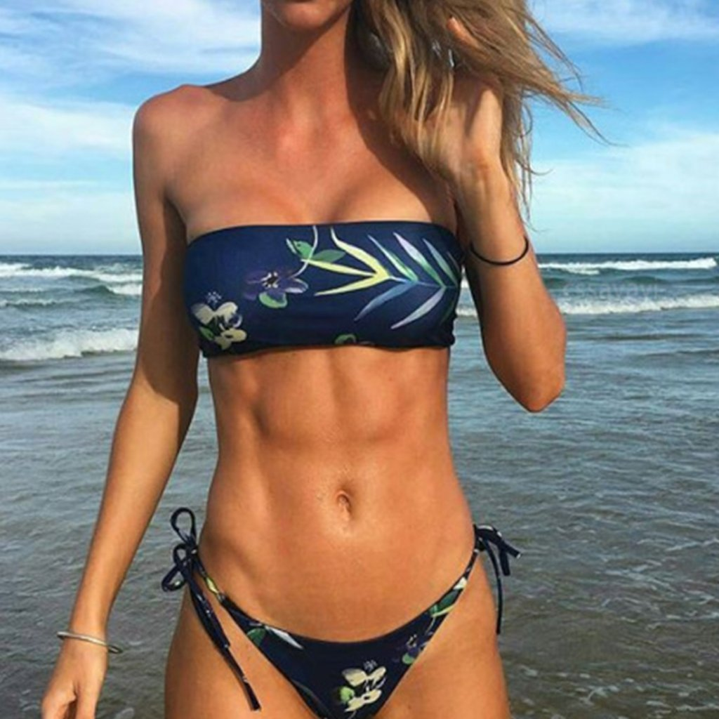 Lace-Up  Printed Bikini