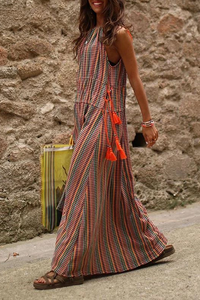 Bohemian Printed Round Neck Sleeveless Loose Vacation Casual Maxi Dress