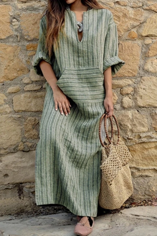 Cotton/Linen Striped Loose Casual Maxi Dresses