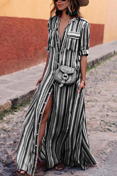 Fashion Stripes Half Sleeve Vacation Casual Dress