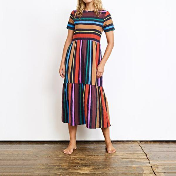 Fabulous Round Neck  Striped Casual Dress
