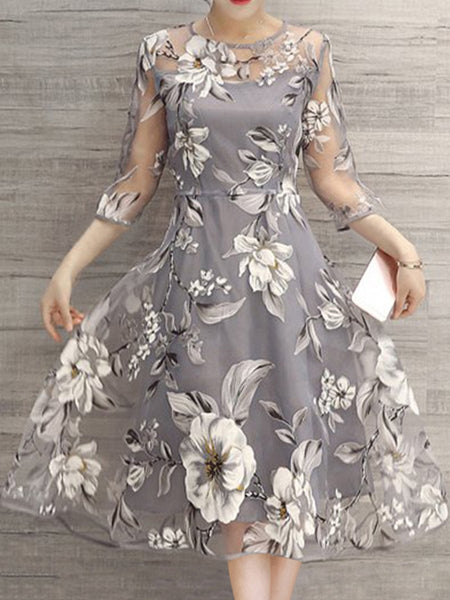 Elegant Floral Printed See Through 3/4 Sleeves Cocktail Midi Skater Dresses