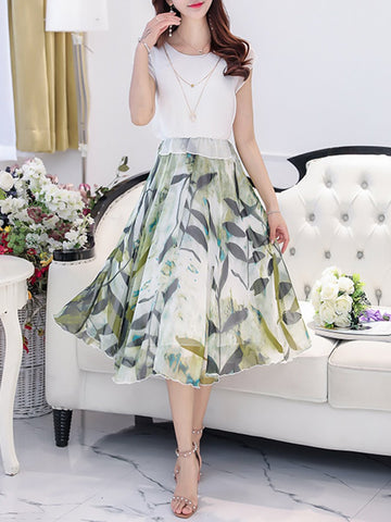 Round Neck  Printed  Chiffon Petal Sleeve Maxi Dress