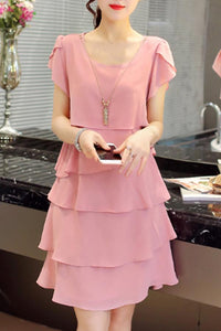 Round Neck  Tiered  Plain  Chiffon Petal Sleeve Shift Dress