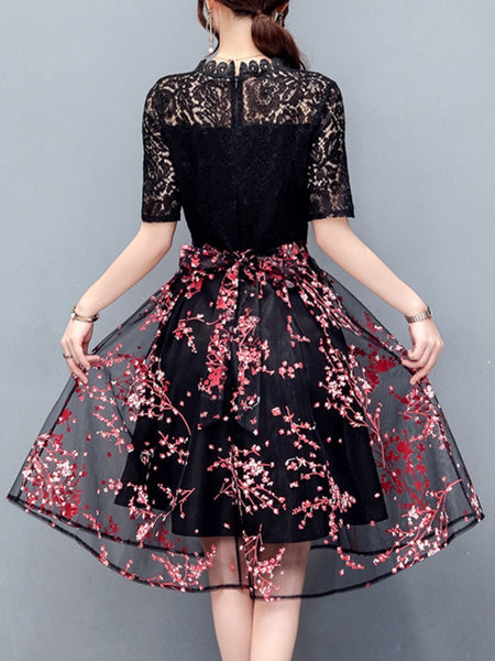 Exquisite Floral Hollow Out Midi Skater Dress