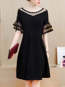 See-Through Solid Bell Sleeve Skater Dress In Black