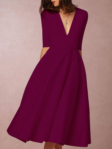 Sexy V Neck Solid Colour A Line Midi Skater Cocktail Dresses