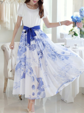 Round Neck  Belt  Floral Printed  Petal Sleeve Maxi Dress
