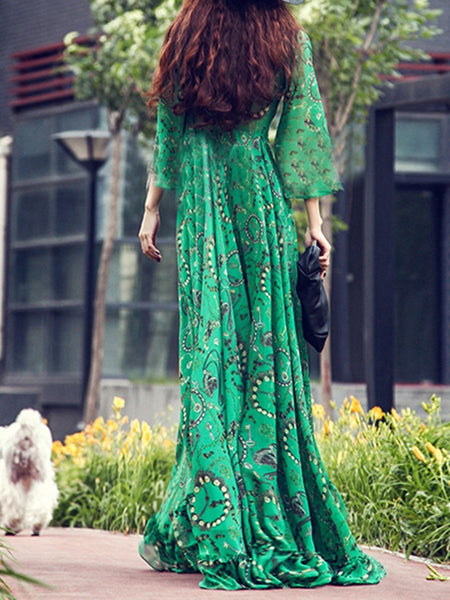 Deep V-Neck Printed Bohemian Maxi Dress