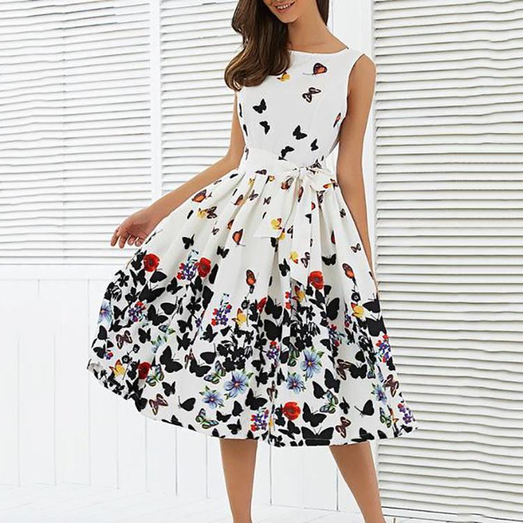 Women's Boat Neck Bowknot Belt Butterfly Print Sleeveless Skater Dress