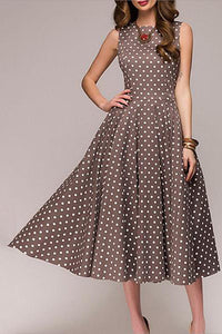 Elegant Dot Printed Sleeveless A Line Cocktail Formal Dresses